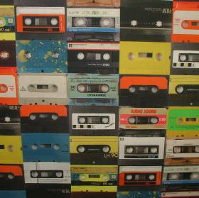 Retro Cassette Tape - Photo Digital - Cassette tape print 100% cotton fabric with the whole design made up of a photographic image