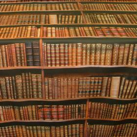 Vintage Library Books - Photo Digital - Rows of well-stocked bookshelves with antique volumes in warm golden browns as a photographic design