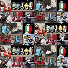 Italian Lambretta Scooter - Photo Digital - Vespa themed 100% cotton fabric with a collage of photographs of the motorcycles and people with