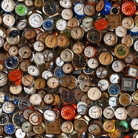 Time Clocks - Photo Digital - 100% cotton fabric covered with photographic images of old and new clocks, watches, timepieces and pocketwatch
