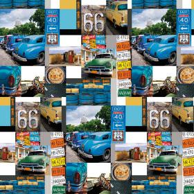 Route 66 Havana Cars - Photo Digital - Mostly cobalt blue coloured Route 66 themed 100% cotton fabric with photographs of cars, signs and fa