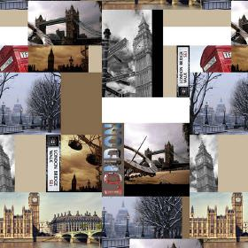 Landmarks Of London - Photo Digital - Photographs of London landmarks with blocks of brown and cream arranged in a collage style on 100% cot
