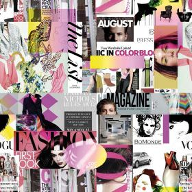 Vogue Colour Mgazine - Photo Digital - A collage of white, grey, pink and black fashion magazine covers with text and shapes on fabric made