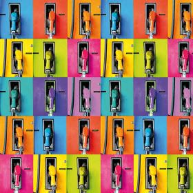 Vibrant Petrol Pamps - Photo Digital - Very brightly coloured petrol pumps including shades of purple, blue, pink, yellow, orange & green on