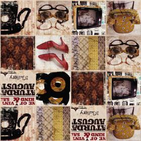 1970s Retro Kitsch - Photo Digital - 100% cotton fabric divided into squares in shades of brown and grey with images of shoes, records, tele