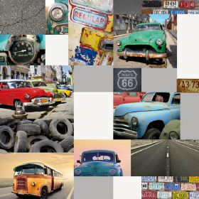Havana Cars - Photo Digital - Fabric made from 100% cotton mainly in shades of grey, with some collaged images of old cars, tyres, roads, si