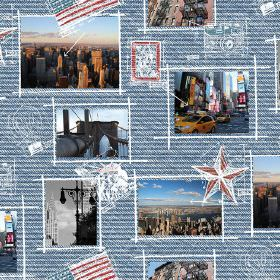 New York Taxi Car - Photo Digital - Horizontally striped blue 100% cotton fabric covered in a scrapbook style with stars & photographs of Am