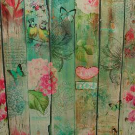 Lovers Garden Birds - Photo Digital - Vertical planks of wood stained and decorated in shades of green and pinkwith hearts, flowers & birds