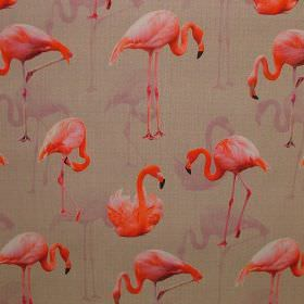 Pink Flamingo - Photo Digital - Bright orange and pale pink flamingos repeatedly patterning light brown coloured fabric made entirely from c
