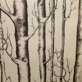 Silver Birch - Photo Digital - Tall, shaded grey tree trunks running vertically with some branches down 100% cotton fabric in a plain beige