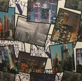 Digital Manhattan New York - Photo Digital - Photographic snapshots of New York scattered over cream and black coloured blocks & text on fab