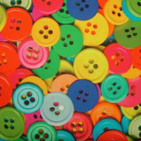 Sewing Buttons Mixed Colours - Photo Digital - Bright, multicoloured buttons scattered in a photographic image over fabric made entirely fro
