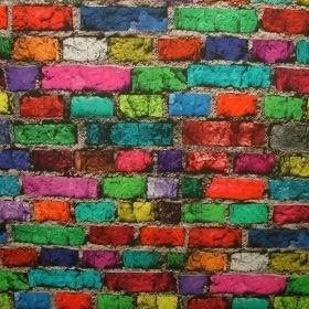 Brick Wall - Multi Coloured -