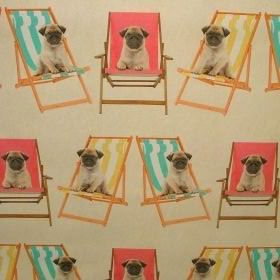 Pug Dogs in Deck Chairs - Multi Coloured -