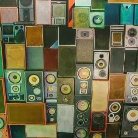 Vintage Hifi Stereo Speakers - Multi Coloured -