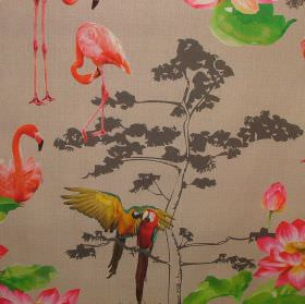 Paradise Flamingo - Photo Digital - Photographs of parrots, flamingos and flowers pasted onto light brown 100% cotton fabric with a tree des