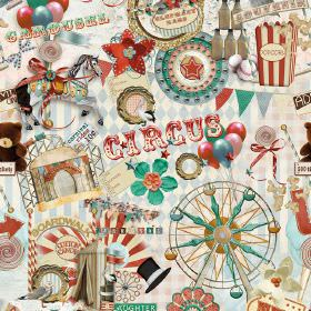 Circus - Photo Digital - Circus themed 100% cotton fabric covered with photo quality images of balloons, popcorn, prizes & other fairground
