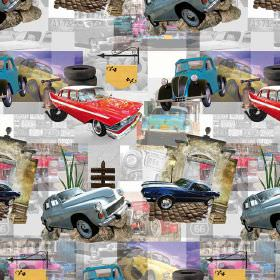 American Classic Cars - Photo Digital - 100% cotton fabric patterned with photographs of vintage style cars and related items on a busily pa