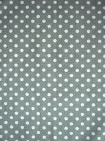 Madelaine - Sage - White polka dots arranged in neat rows over a dove grey coloured 100% cotton fabric background