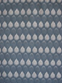 Isabella - Blue - Very pale grey and blue-grey coloured teardrop shapes arranged in rows on 100% cotton fabric in blue-grey