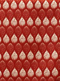 Isabella - Red - Patterned teardrop shapes arranged in neat rows over 100% cotton fabric in off-white and brick red colours