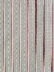 Malvern - Grey Red - Pale blue, dusky purple, white and light grey stripes arranged in a neat, regular, repeated design on 100% cotton fabri