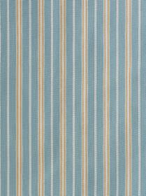 Malvern - Lapis, Ochre, Grey - Cream, light brown, pale blue and marine blue coloured stripes creating a simple, vertical pattern on 100% co