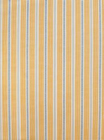 Ledbury - Ochre Grey - Patterned and solid light grey, mid-grey and white stripes running vertically down 100% cotton fabric the colour of hon