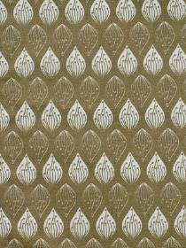Isabella - Stone - 100% cotton fabric made in white and green-grey, featuring neat, regular rows of small patterned teardrop shapes