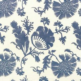 Acapulco - China Blue - Elegant Air Force blue coloured flowers and leaves printed on a white 100% cotton fabric background