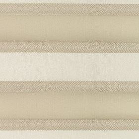 Malibar - Biscuit - Horizontal beige, light grey and ivory coloured stripes creating a simple design on polyester and viscose blend fabric