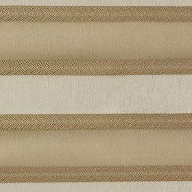 Malibar - Caramel - Polyester and viscose fabric featuring a horizontal stripe design in dark beige, light brown and very pale grey colours