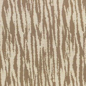 Malindi - Caramel - Brown-grey and chalk white coloured polyester and viscose blend fabric featuring a simple animal stripe design