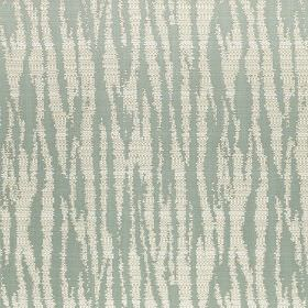 Malindi - Eau De Nil - Polyester and viscose blend fabric printed with a chalk white and light duck egg blue coloured animal stripe design