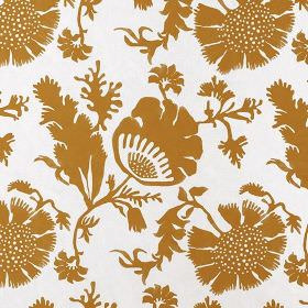 Acapulco - Burnt Orange - White 100% cotton fabric printed with an elegant design of plain gold flowers and leaves