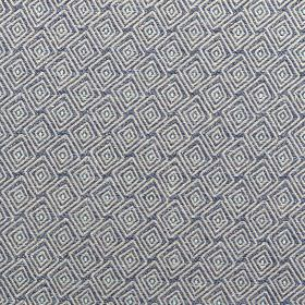 Medina - Denim - Concentric white diamonds creating a small, simple, stylish pattern on polyester and cotton blend fabric in navy blue