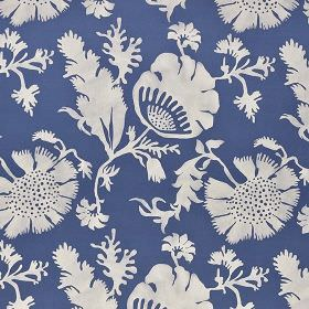 Acapulco - Cream - Fabric made from 100% cotton in navy blue, printed with simple, elegant flowers and leaves in bright white