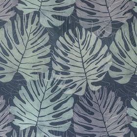 Zanzibar - Midnight - Large, simple leaves creating a stylish pattern on 100% cotton fabric made in various different elegant shades of blue