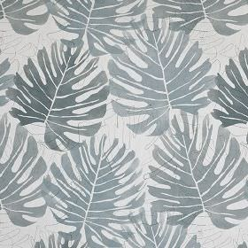 Zanzibar - Smoke - Icy grey coloured 100% cotton fabric printed with a design in light, elegant shades of grey of simple, stylish leaves