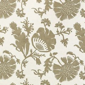 Acapulco - Biscuit - 100% cotton fabric featuring a simple, elegant floral and leaf design in white and cement grey