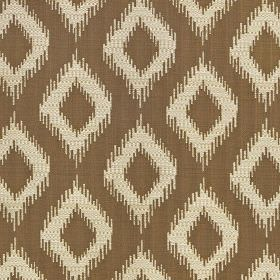 Asmara - Caramel - Dark brown and cream coloured polyester and viscose blend fabric featuring a pattern of diamonds with blurred edges