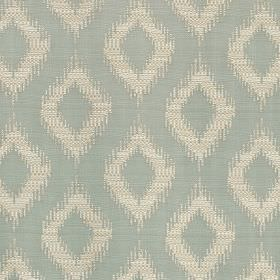 Asmara - Eau De Nil - Fabric made from polyester and viscose in chalk white and pale blue, featuring simple diamonds with rough edges