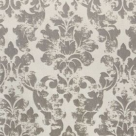 Portland - Pewter - Polyester & polyacrylic blend fabric made in very pale cloud grey, with a patchily printed filigree pattern in dark grey
