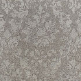 Portland - Truffle - Two different shades of grey making up a patchily printed filigree pattern on polyester and polyacrylic blend fabric