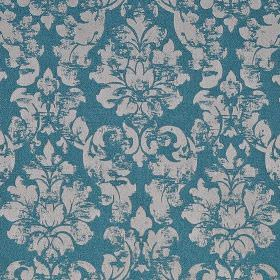 Portland - Teal - Bright aqua blue coloured polyester & polyacrylic blend fabric featuring a light grey, patchily printed filigree pattern