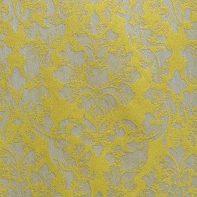 Portland - Chartreuse - Fabric made from light grey and citrus coloured polyester and polyacrylic, with a subtle, patchily printed filigree de