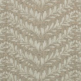 Richmond - Truffle - Small leaves arranged in chevrons and printed in light shades of grey on polyester, cotton, viscose and linen fabric