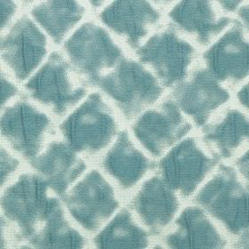 Windsor - Teal - Polyester and cotton blend fabric featuring rows of soft, patchily printed diamonds in white and marine blue colours