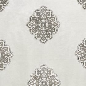 Hampton - Cream - Iron grey and very pale grey-white coloured fabric made from silk viscose, featuring detailed, elegant rayon embroidery
