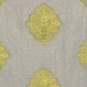 Hampton - Taupe - Detailed citrus coloured patterns embroidered in rayon on a luxurious light silver-grey silk viscose fabric background